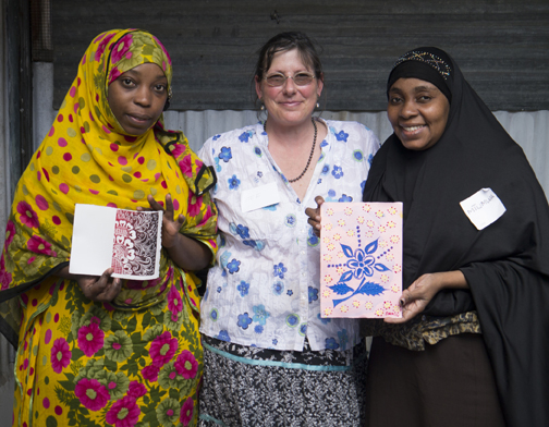 Left to right, Asya, Stephanie, Mtumwa at the Hurumzi Henna Art Gallery in Stonetown, Zanzibar, Tanzania in 2014